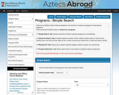 Aztecs Abroad Database